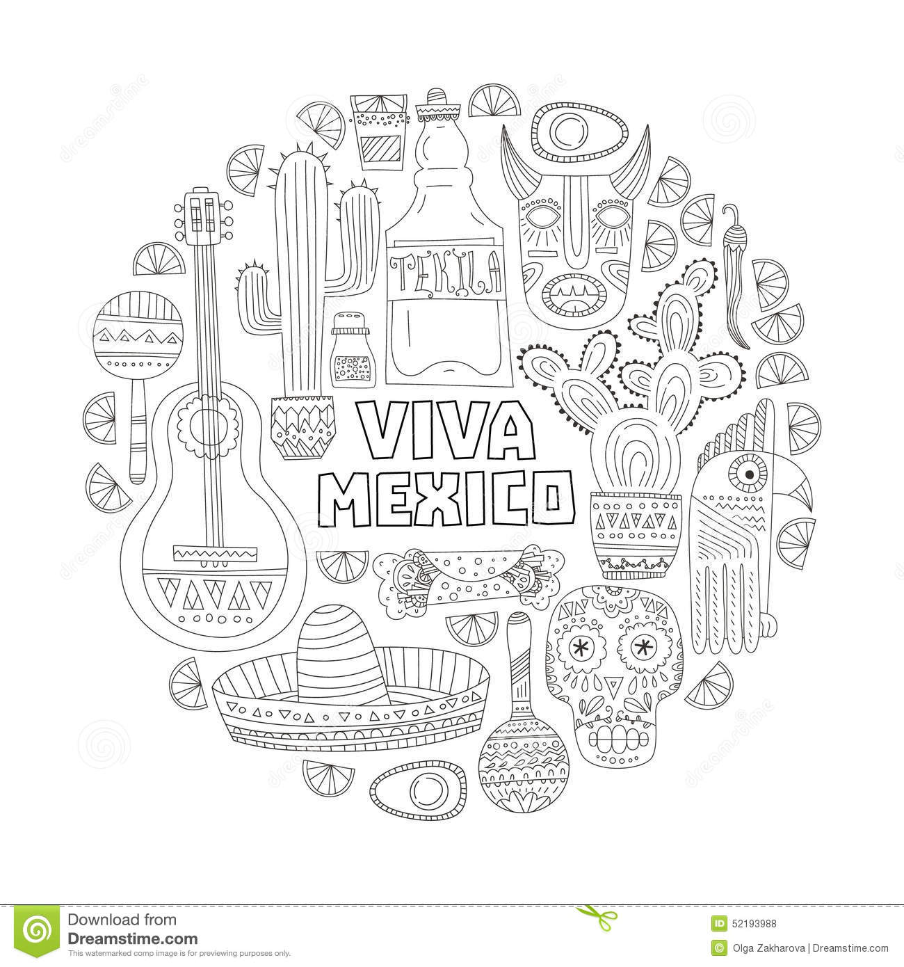 Mexico card template stock vector illustration of for Aztec mask template