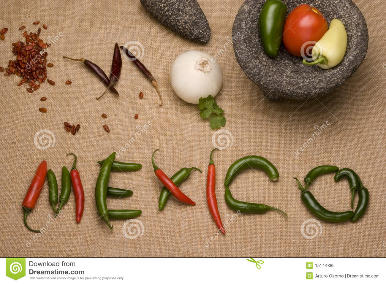 Mexico, Chili y molcajete