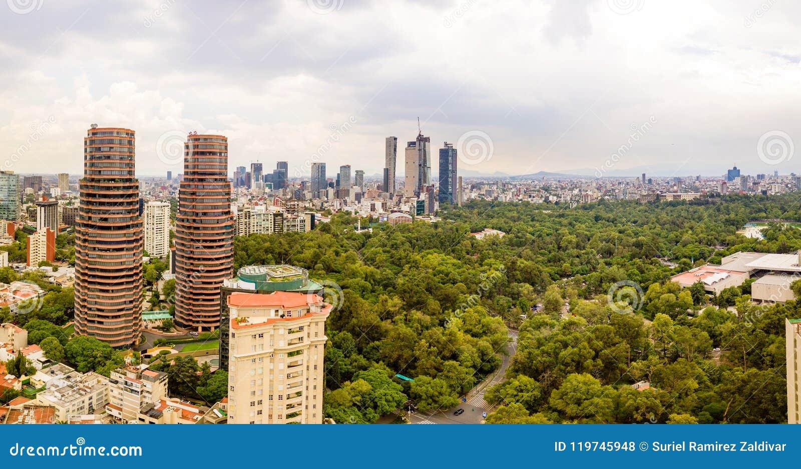 Mexico City Chapultepec panoramic view