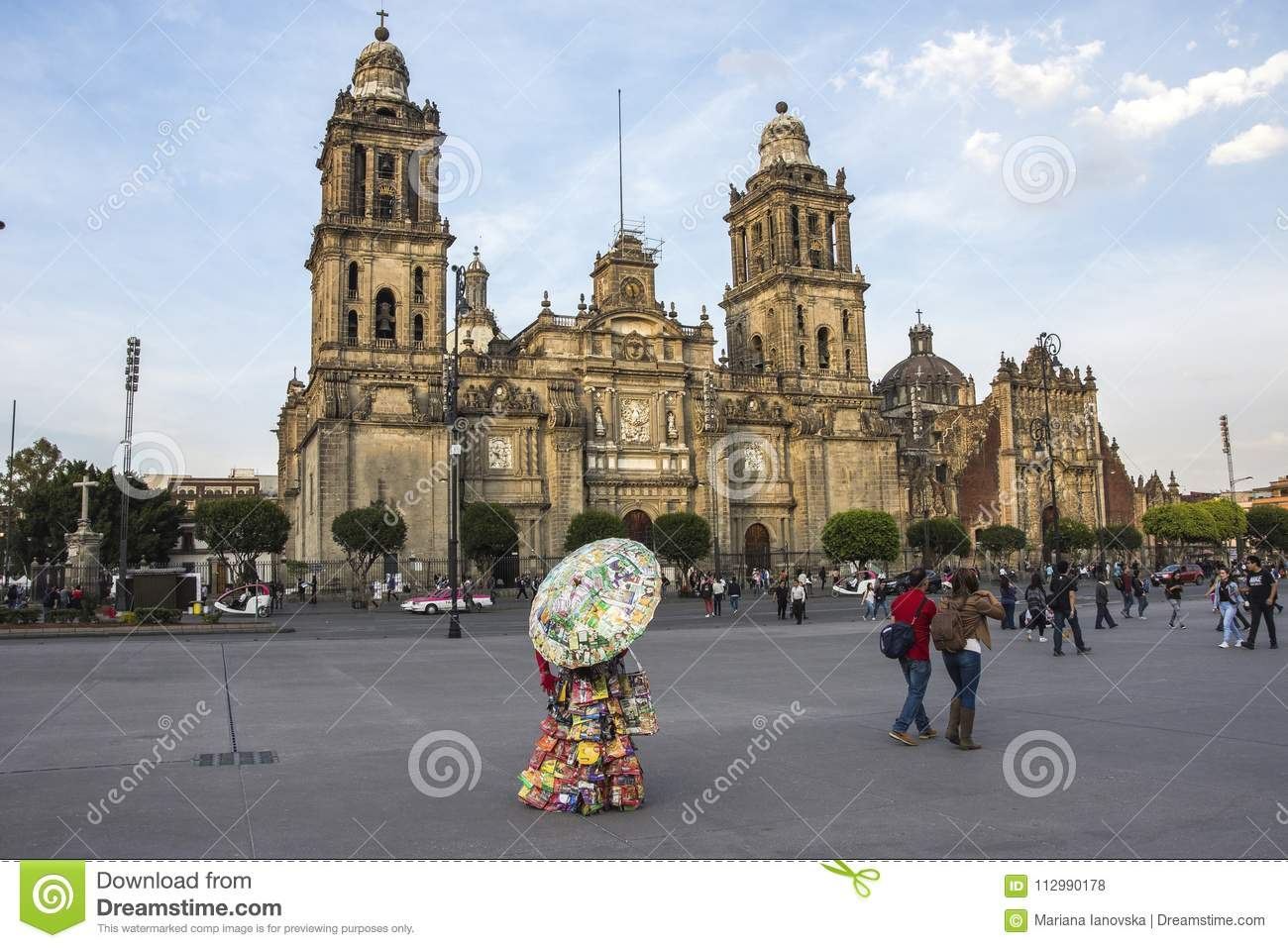 MEXICO CITY - FEB 5, 2017: Constitution Square Zocalo view from the dome of the Metropolitan Cathedral
