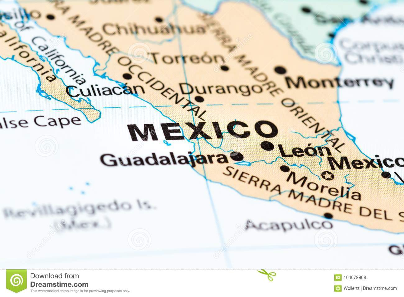 Mexico City on a map stock photo. Image of focus, discover ...