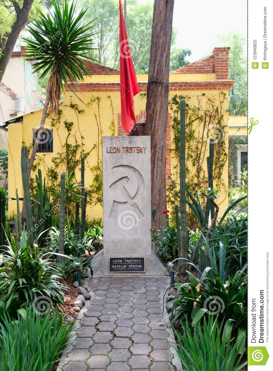 The grave of Leon Trotsky at the house where he lived in Coyoacan, Mexico City