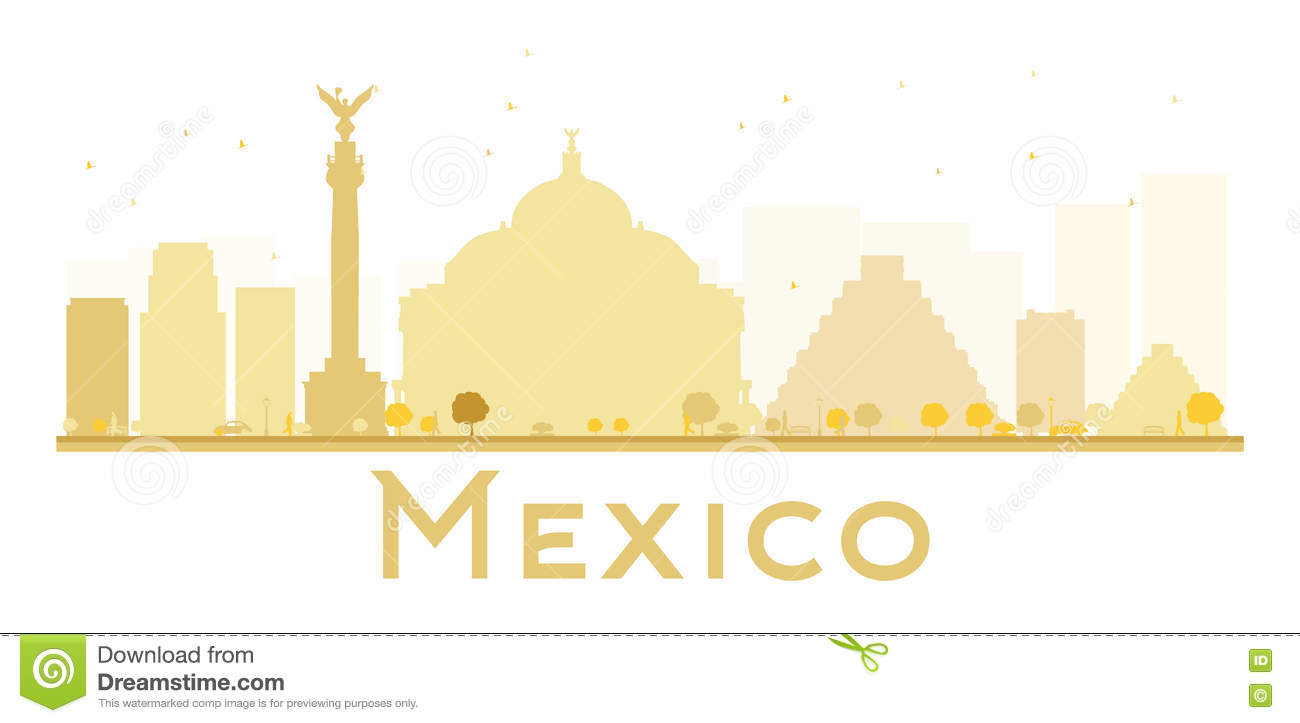 Mexico City Skyline Golden Silhouette. Stock Vector