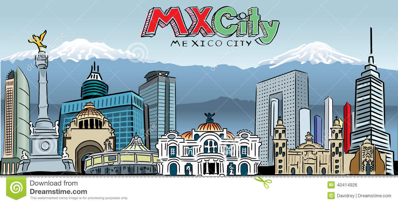 Mexico City Skyline Stock Vector. Illustration Of Towe