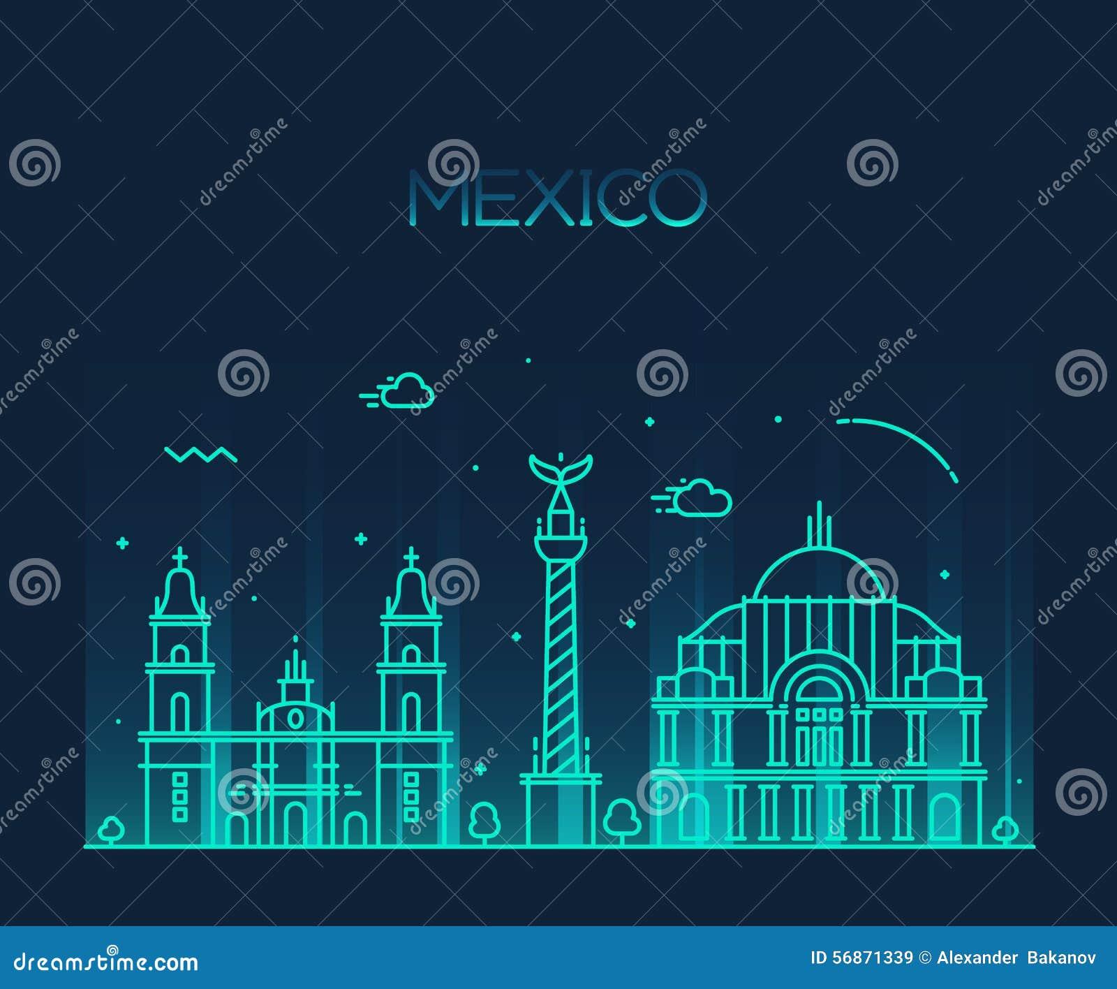 Mexico City Skyline Trendy Vector Line Art Style Stock
