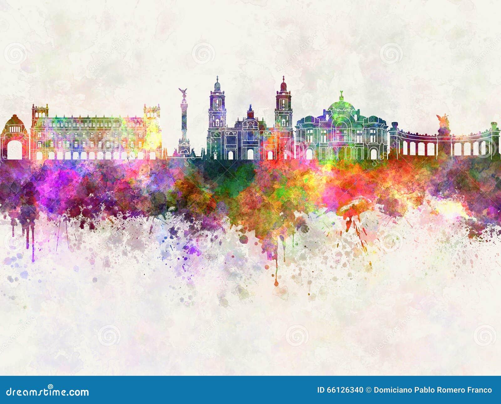 Mexico City V2 skyline in watercolor