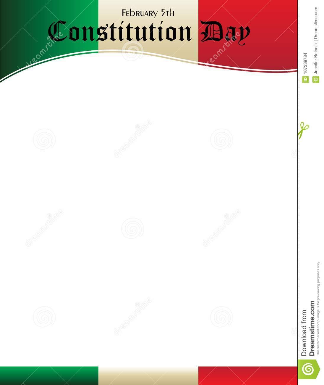 mexico constitution day poster template with mexican flag stock
