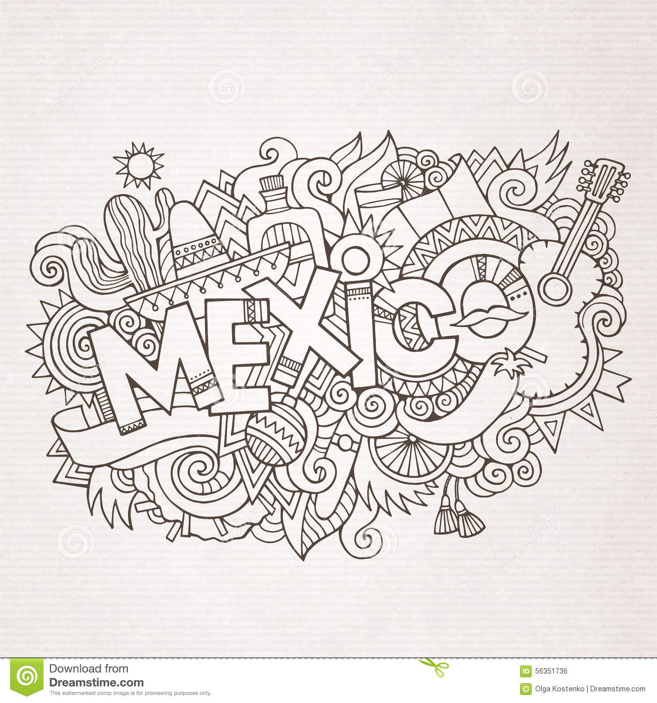 Stock vector music hand lettering and doodles elements - Mexico Country Hand Lettering And Doodles Elements Royalty Free Stock Image