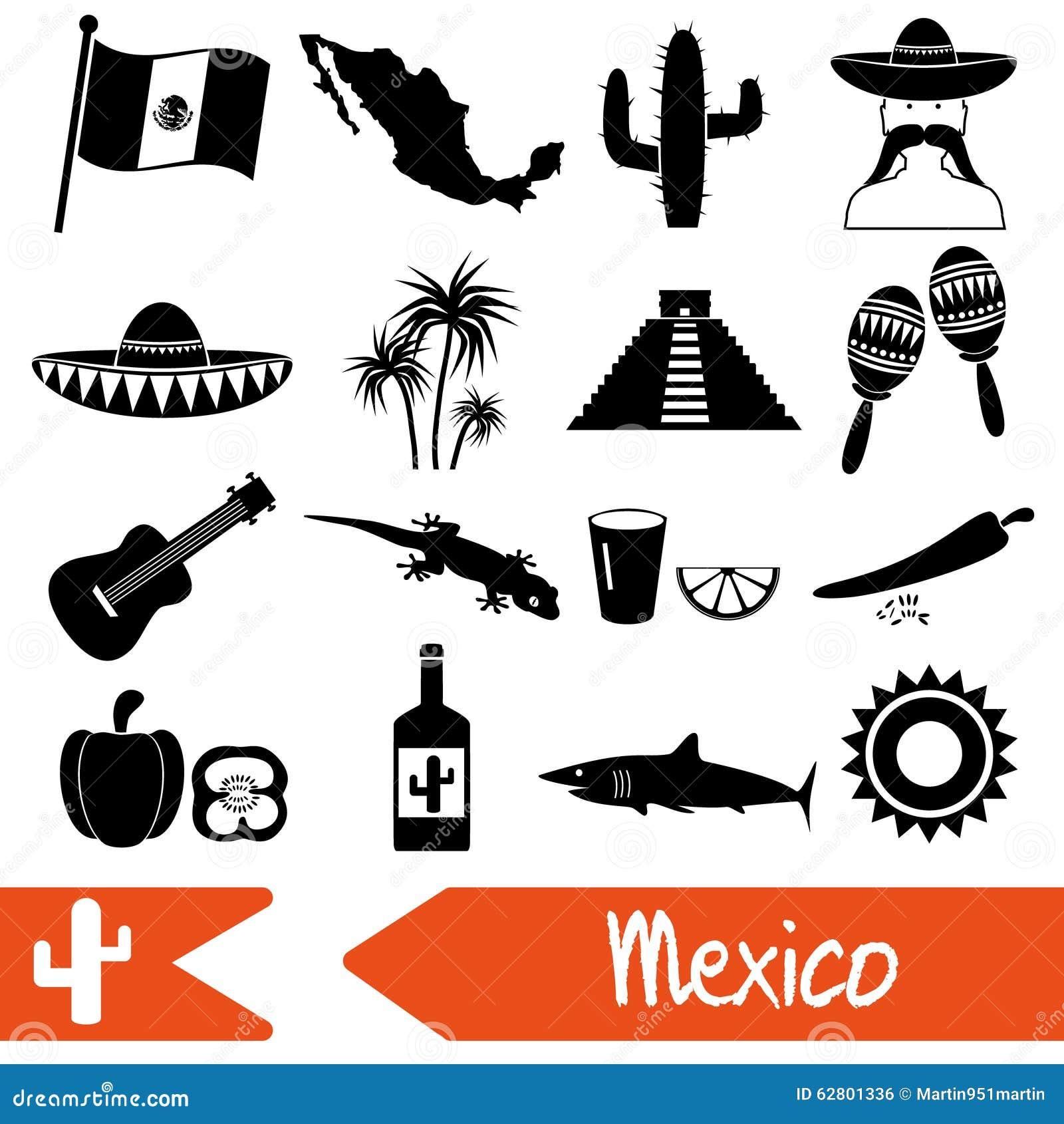 mexico country theme symbols icons set eps10 stock vector