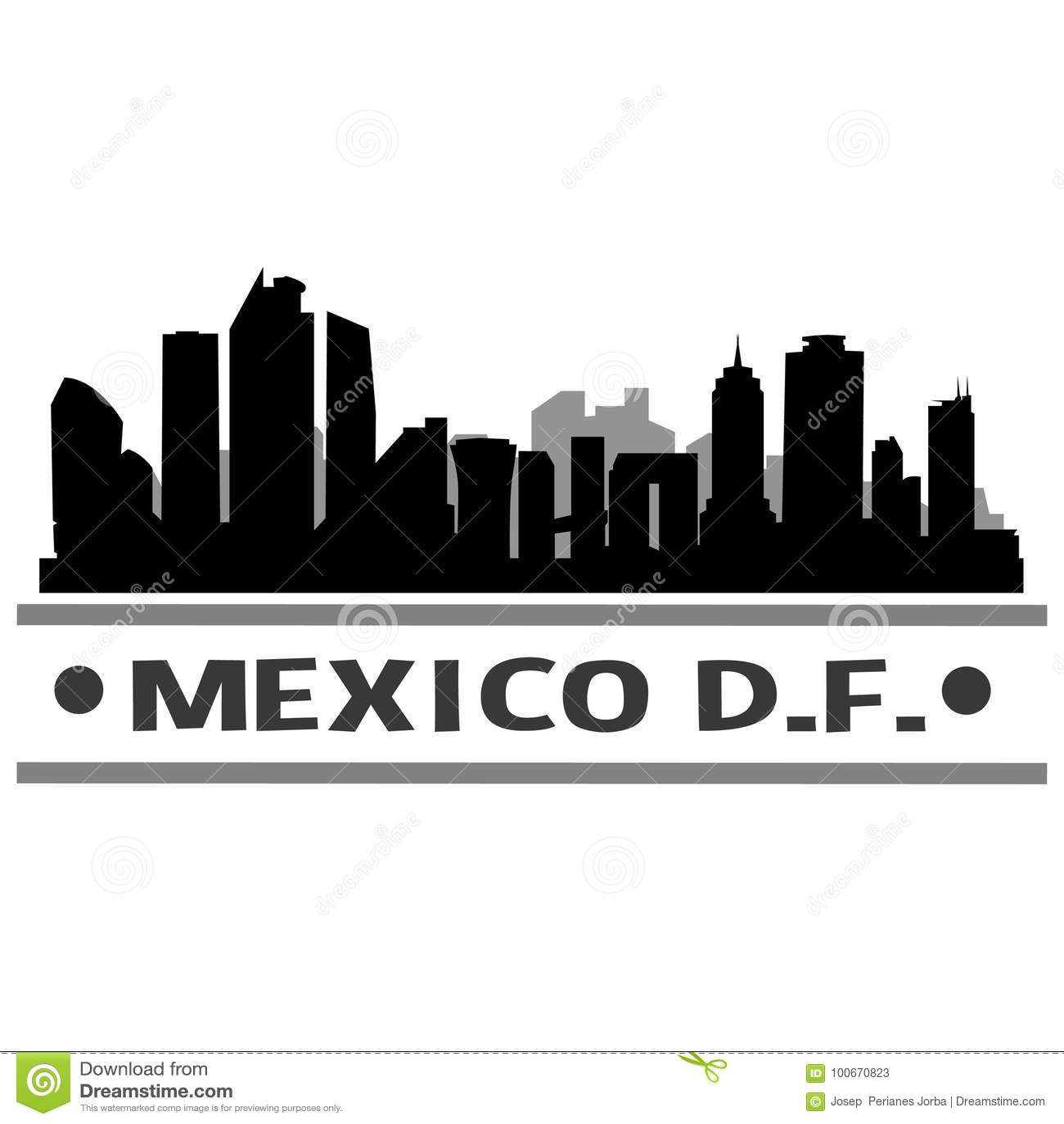 Mexico DF Skyline City Icon Vector Art Design