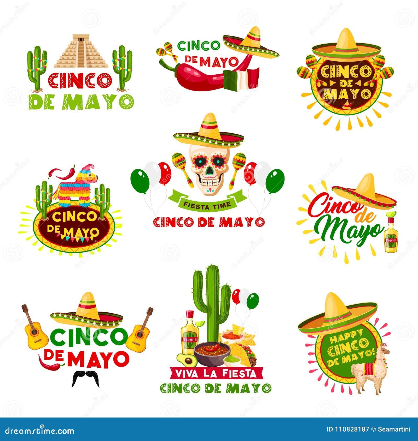 Mexico för vektor för mexikanCinco de Mayo ferie symboler