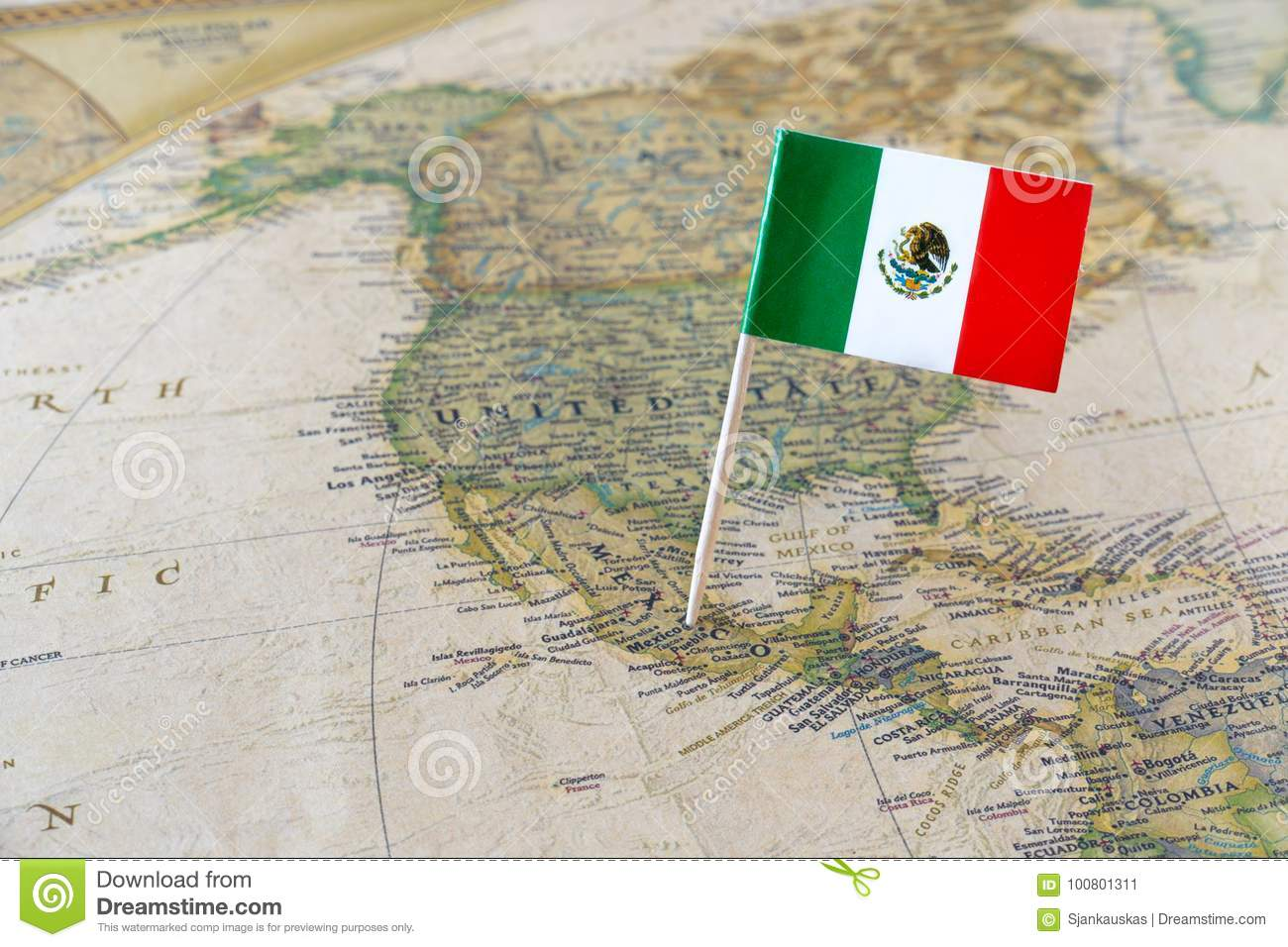 Mexico Flag Pin On Map Stock Image Image Of Canadian 100801311