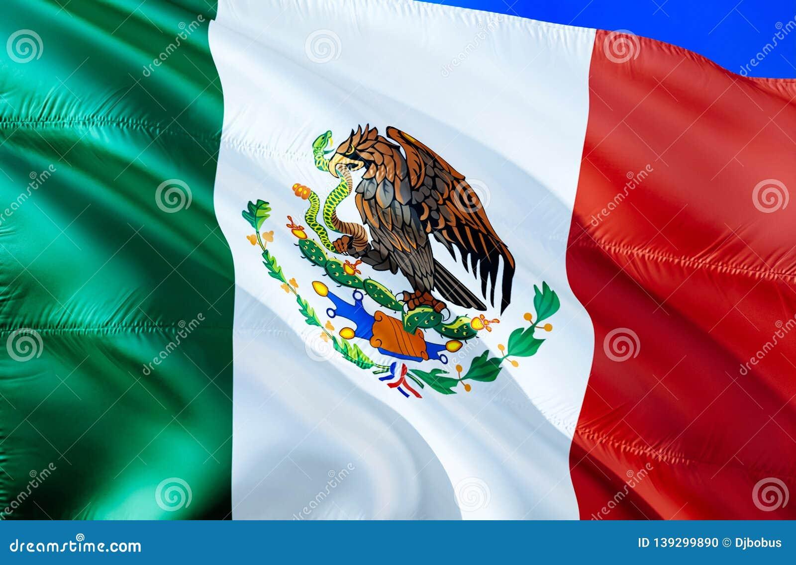 Mexico flagga vinkande design för flagga 3D Det nationella symbolet av Mexico, tolkning 3D Nationella färger och medborgareSydame