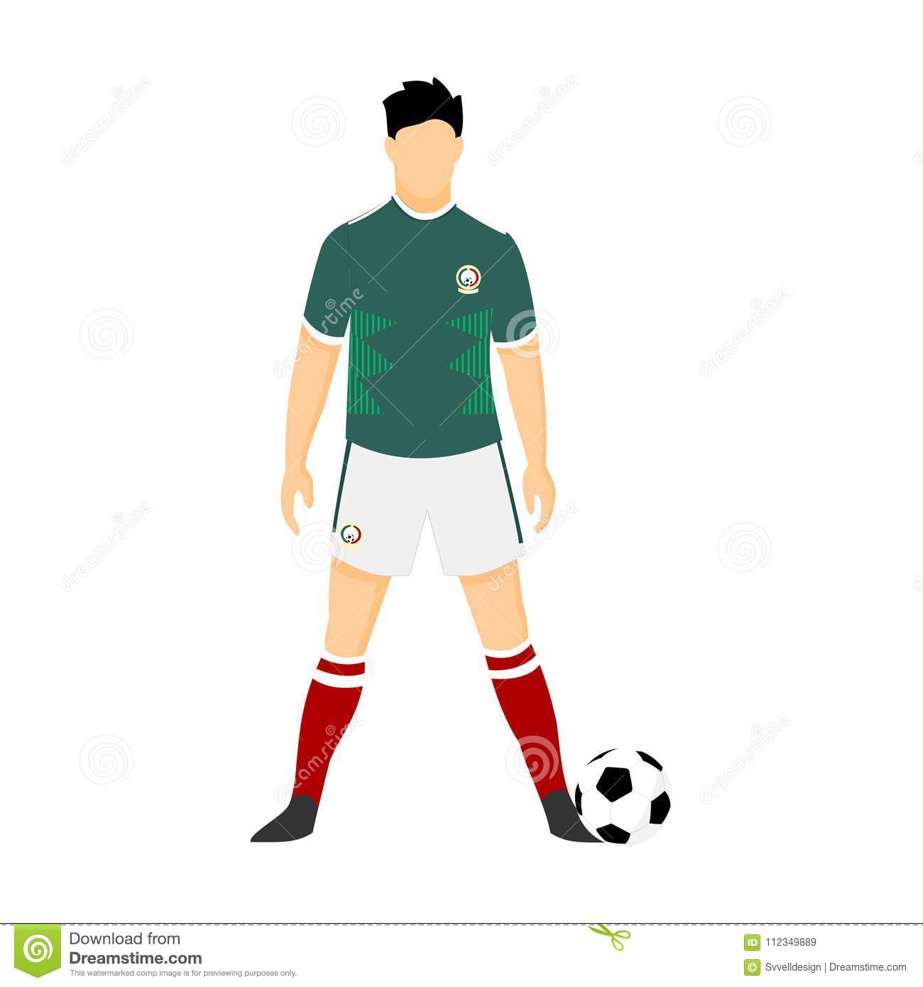 size 40 1995c 89f13 Mexico Football Jersey National Team World Cup Illustration ...