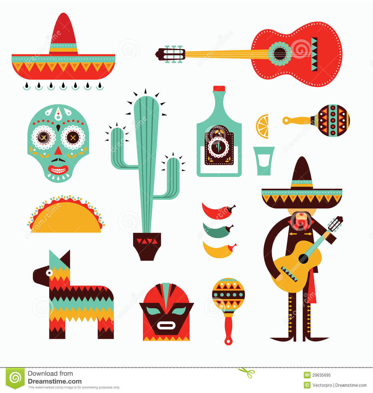 Vecor illustration of various stylized icons for Mexico.