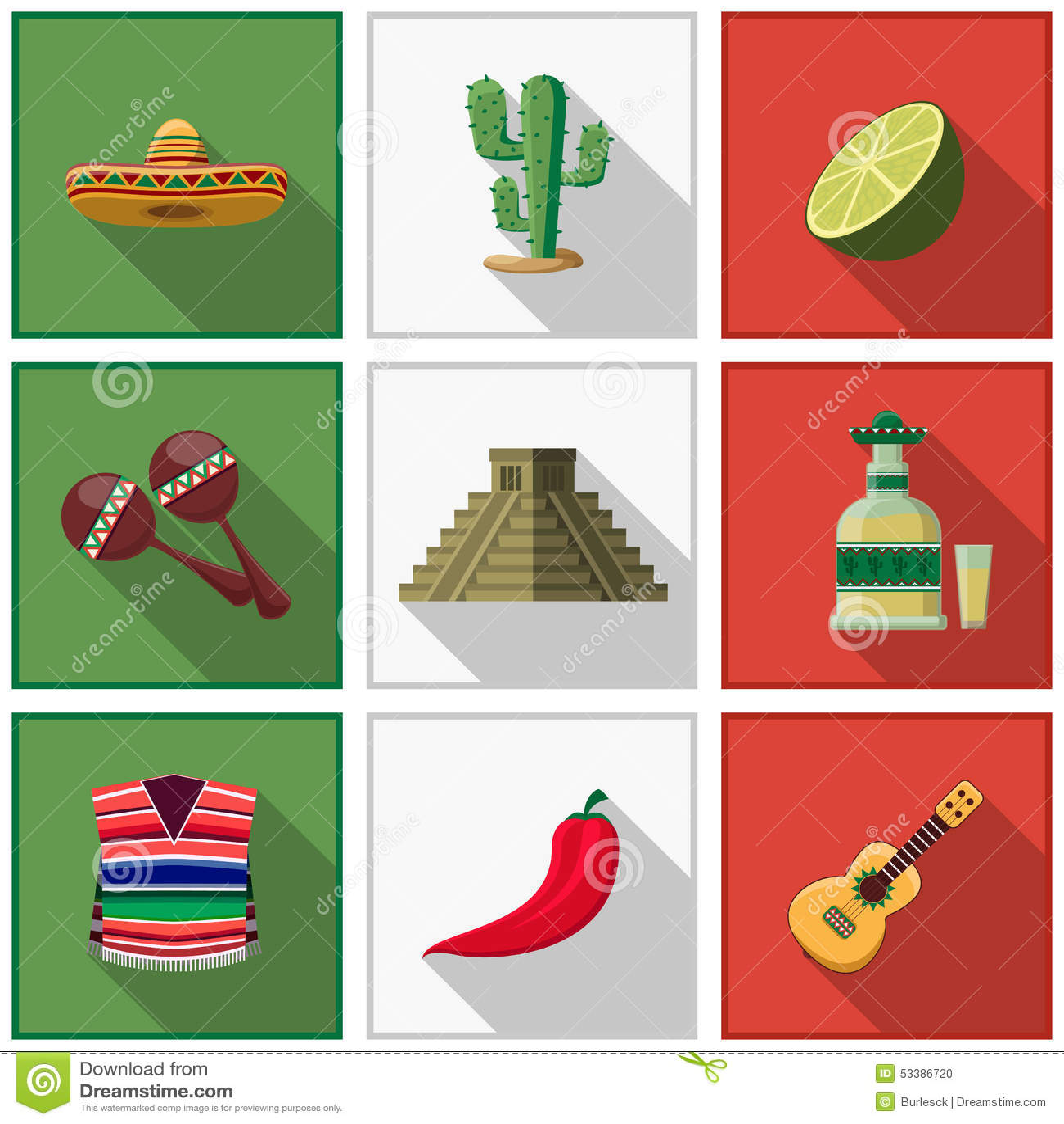 Mexico Icons Set, Mexican Symbols Stock Vector - Image ...