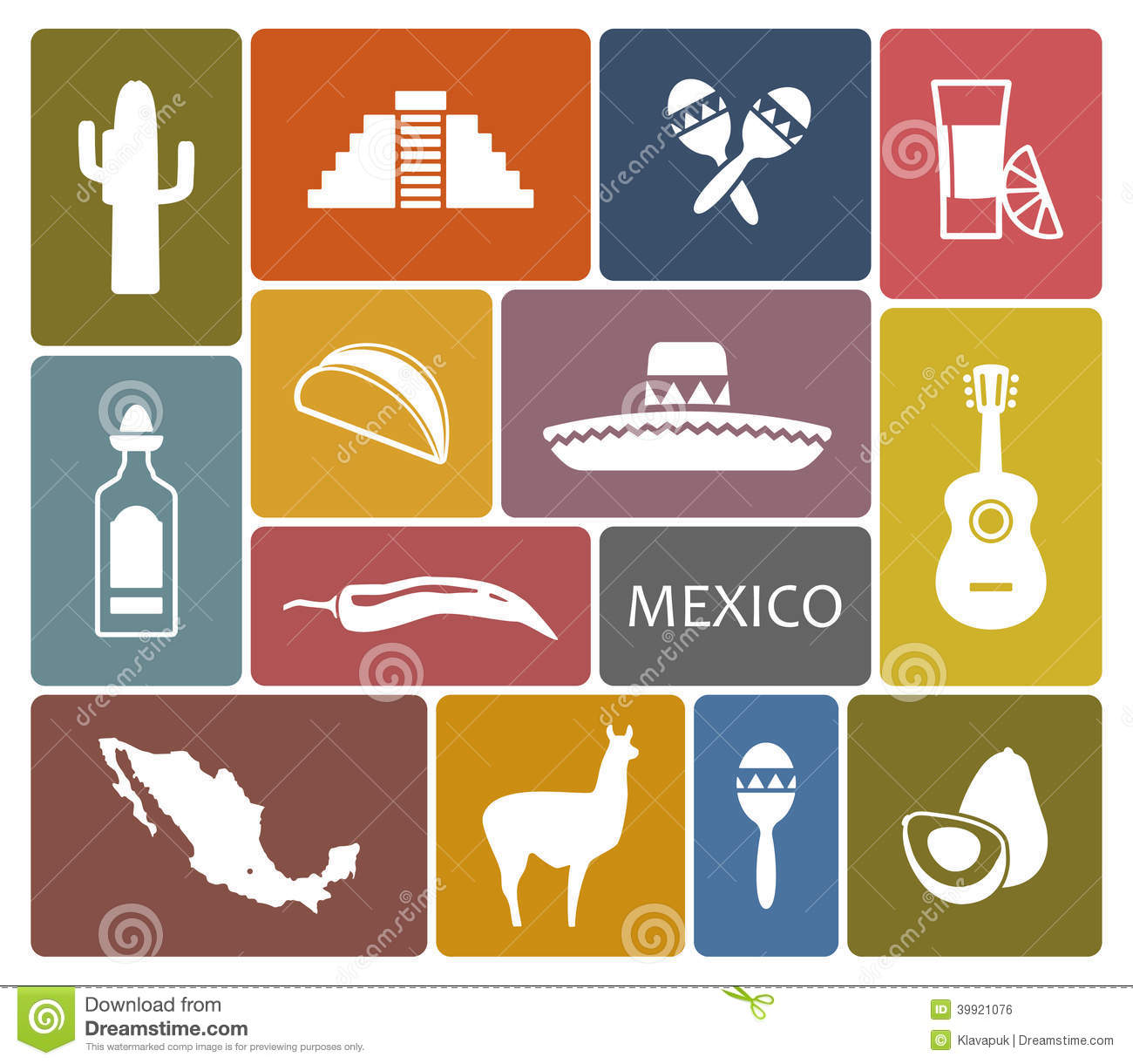 Mexico Icons Stock Vector Illustration Of Culture Monument 39921076