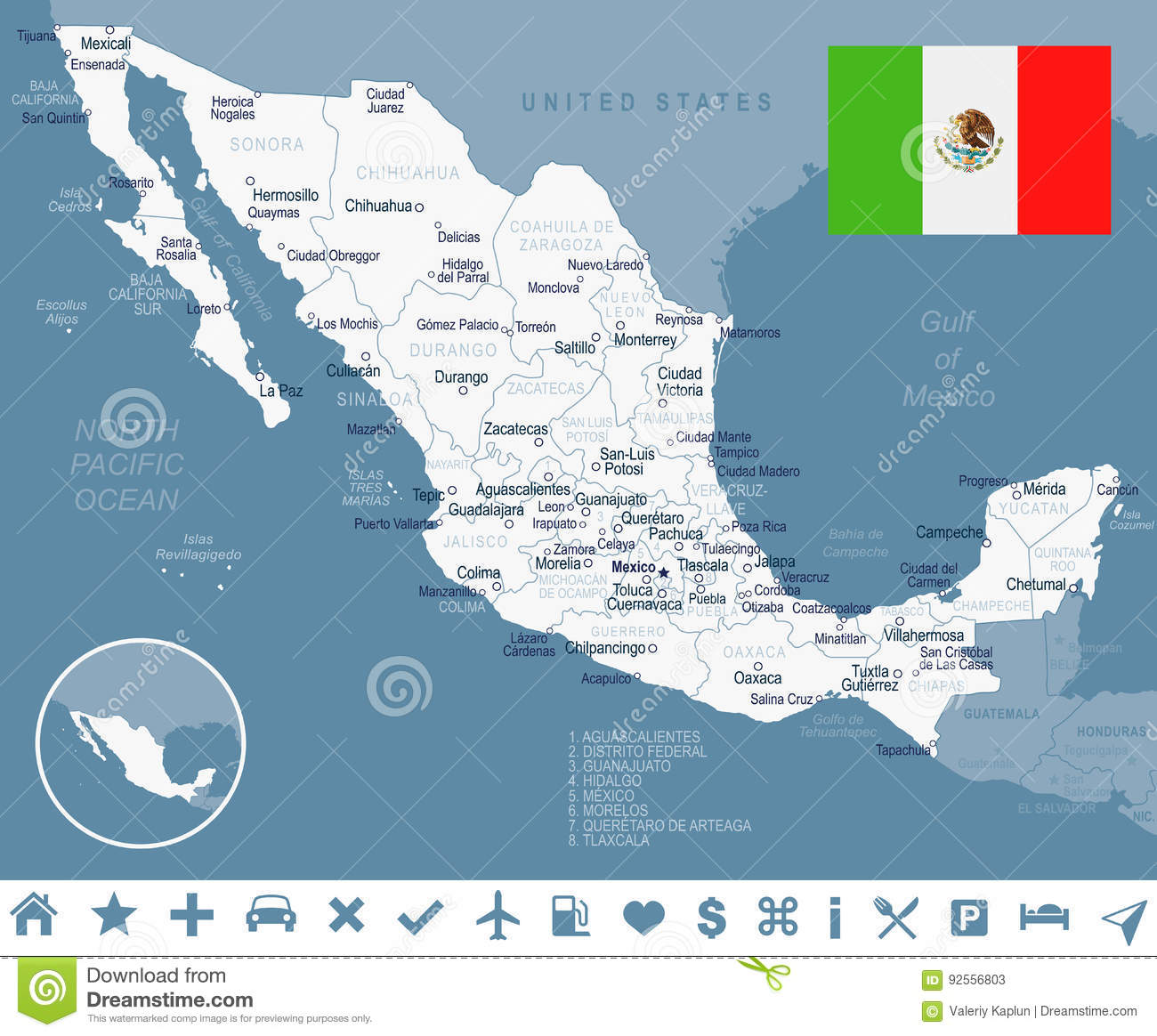 Monclova Mexico Map.Mexico Map And Flag Illustration Stock Illustration