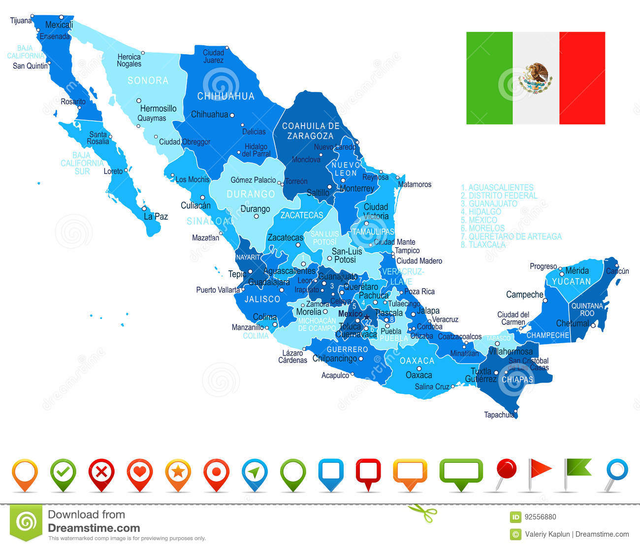Mexico Map And Flag Illustration Stock Illustration
