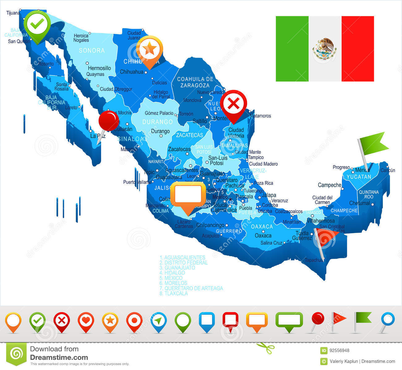 Mexico - Map And Flag - Illustration Stock Illustration ...