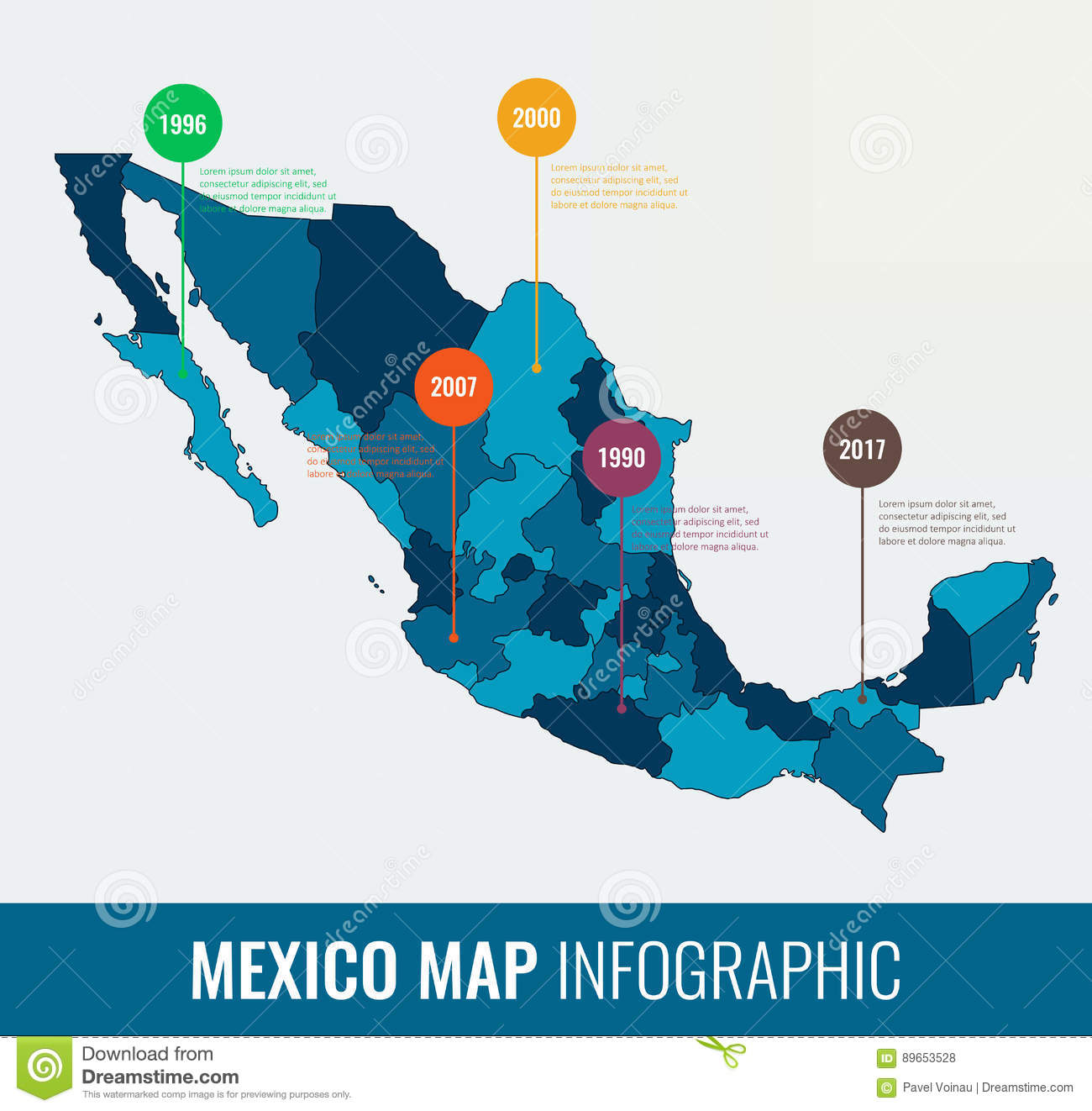 Mexico Map Infographic Template All Regions Are Selectable - Mexico regions map