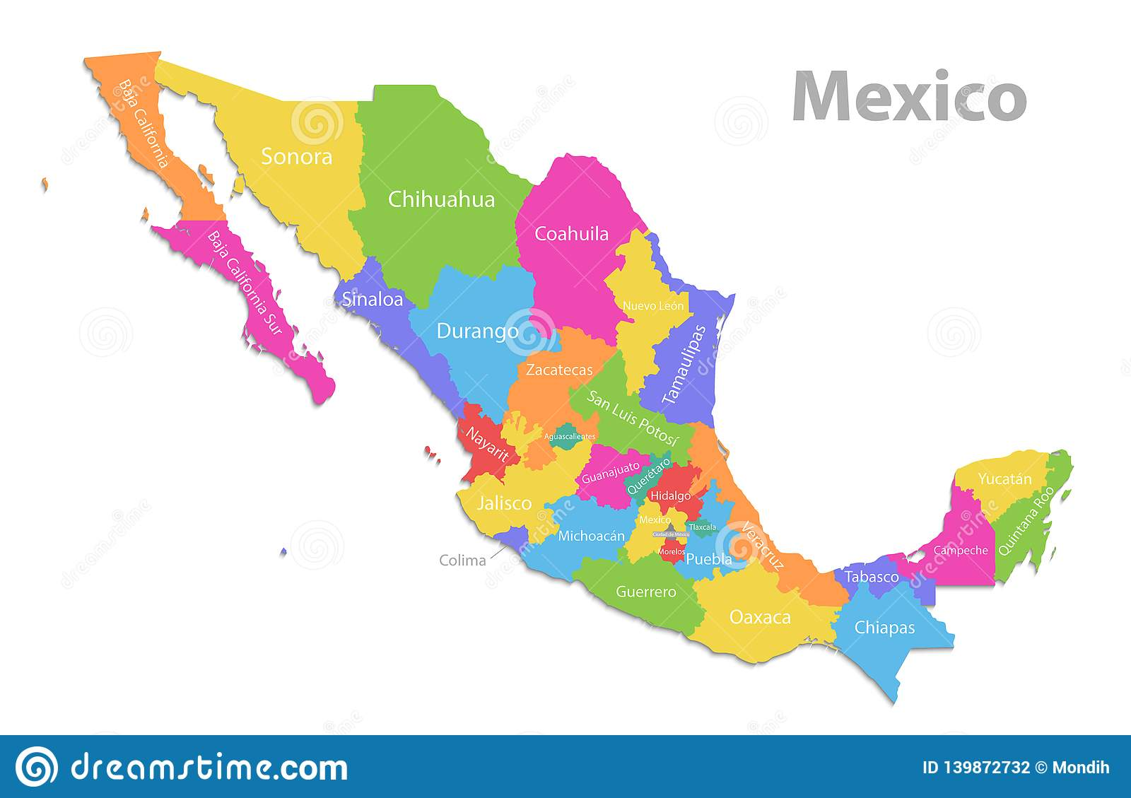 Mexico Map, New Political Detailed Map, Separate Individual ...