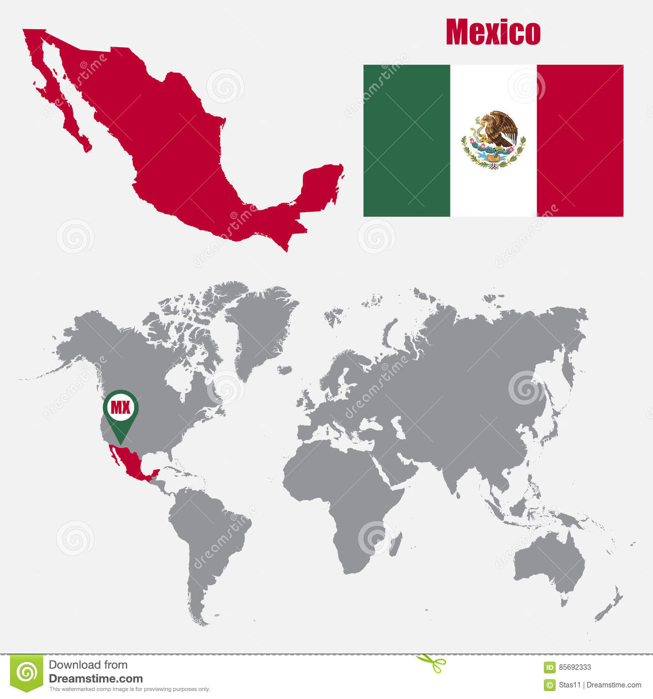 Mexico Map On A World Map With Flag And Map Pointer. Vector