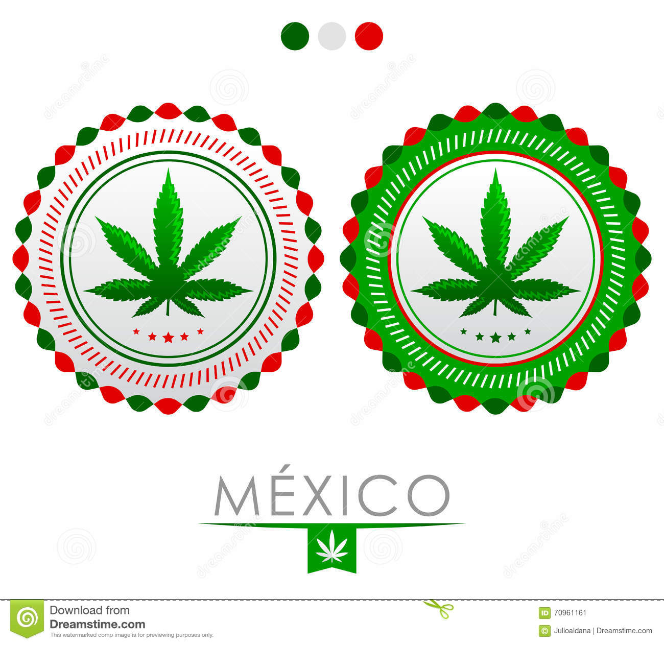 Mexico Marijuana Emblem Vector Cannabis Seal Of Approval With The