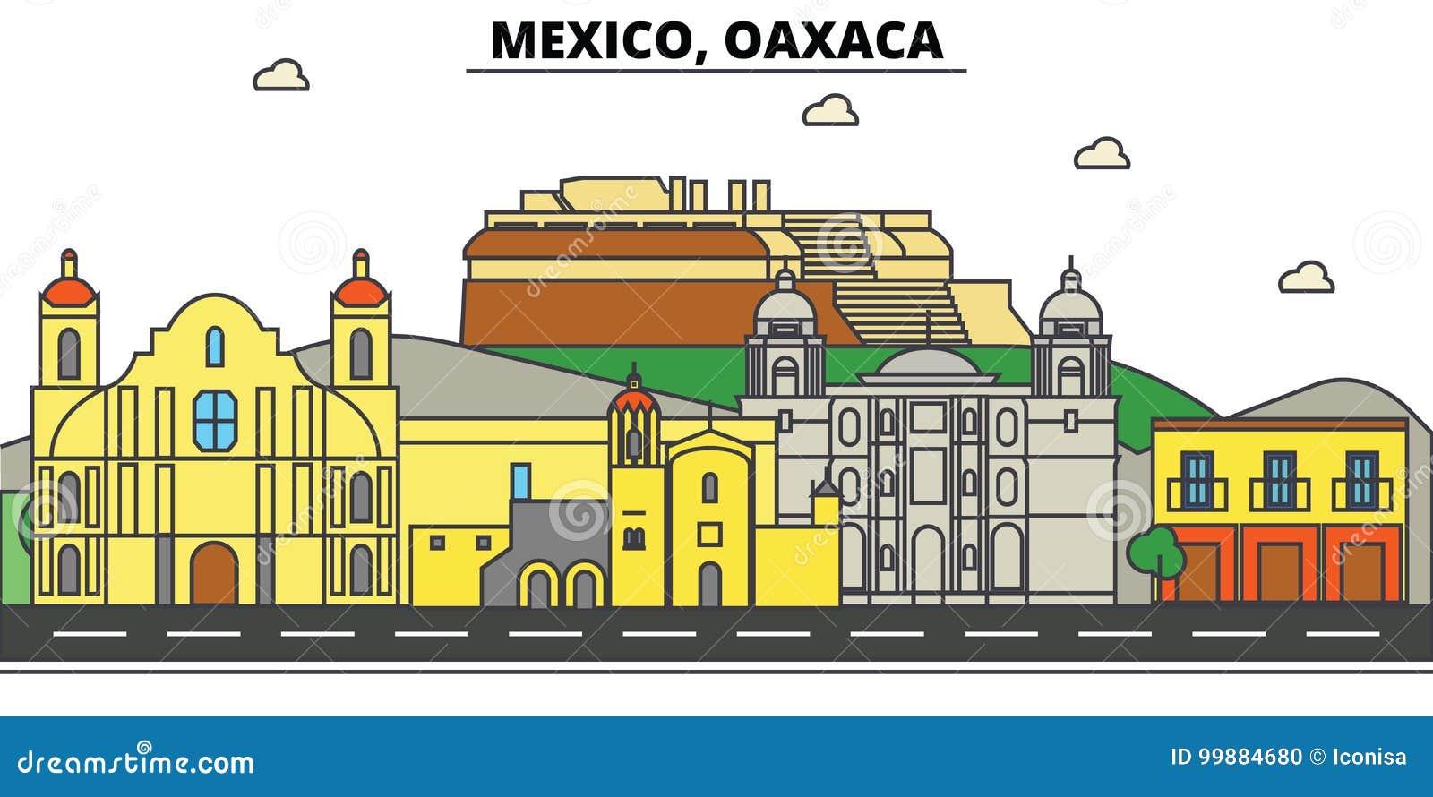 Mexico, Oaxaca Stadshorizon, architectuur, gebouwen, straten, silhouet, landschap, panorama, oriëntatiepunten, pictogrammen