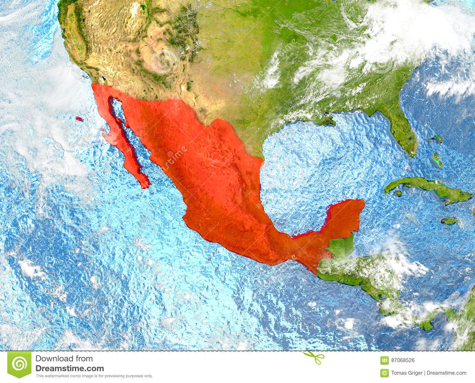 Mexico op kaart met wolken