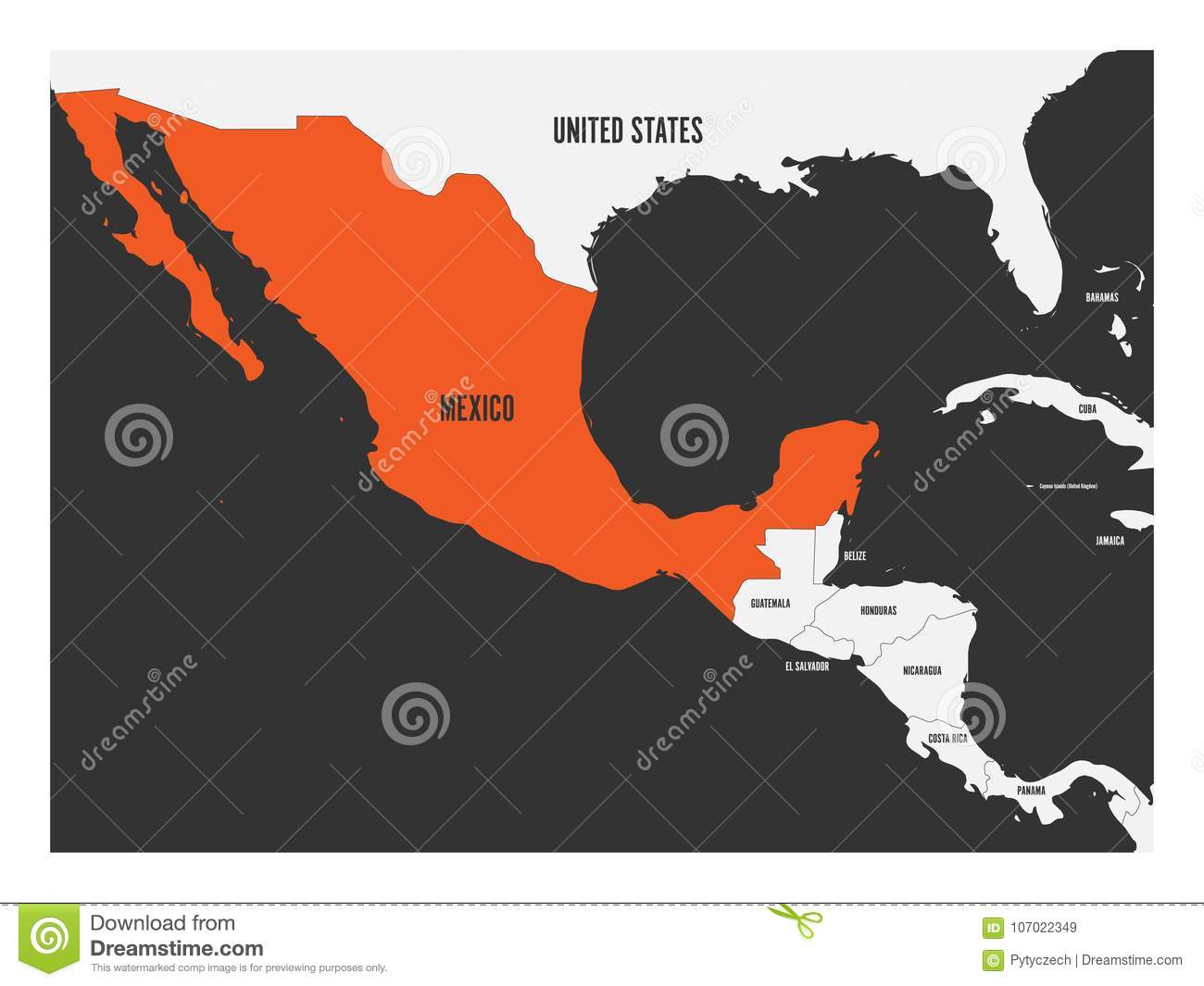 Mexico Orange Marked In Political Map Of Central America ...