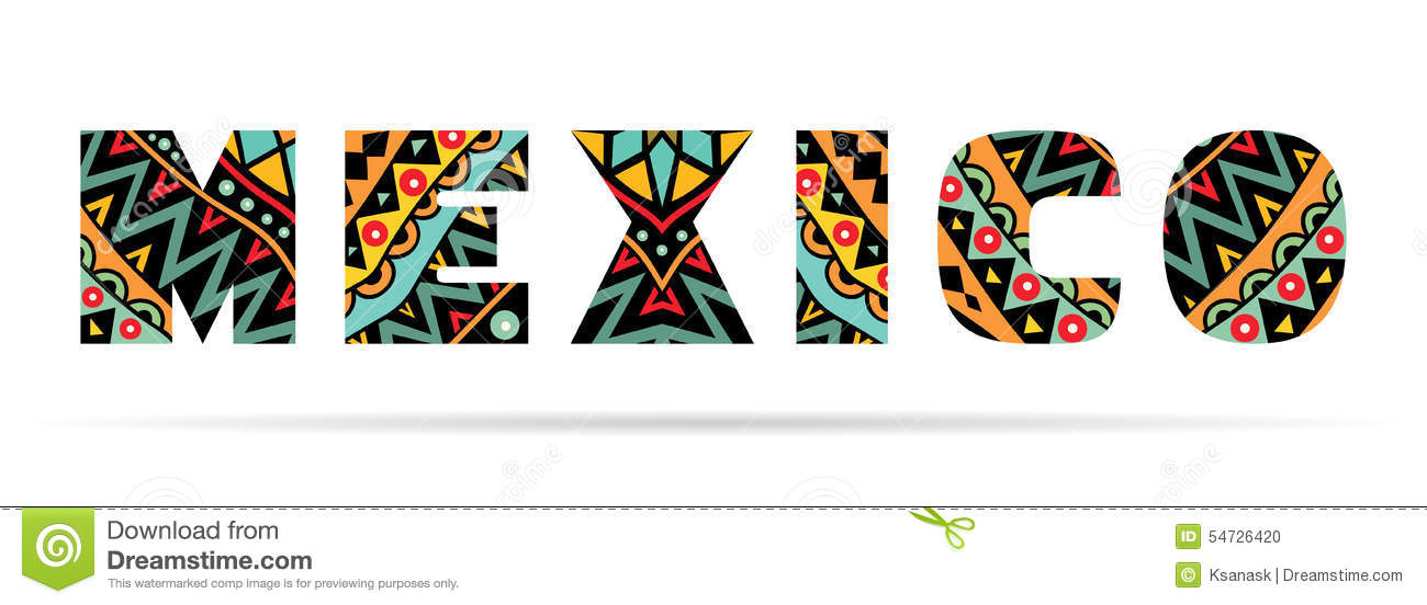 Mexico word title with bright ethnic Mexican pattern. Multicolored ...
