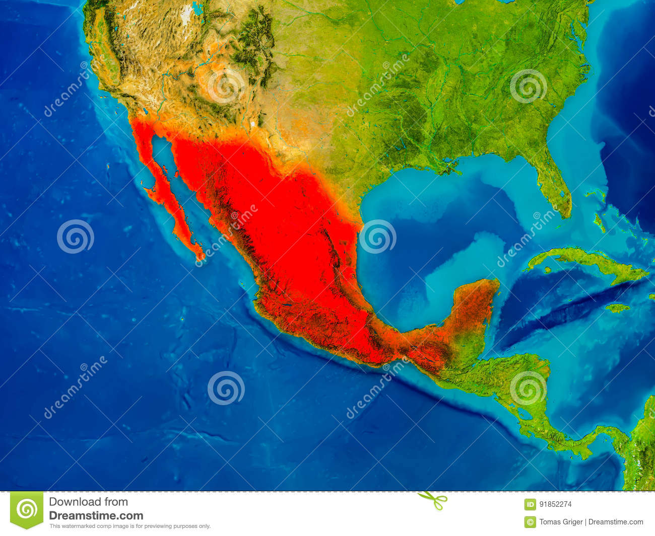 Mexico on physical map stock illustration. Illustration of ...