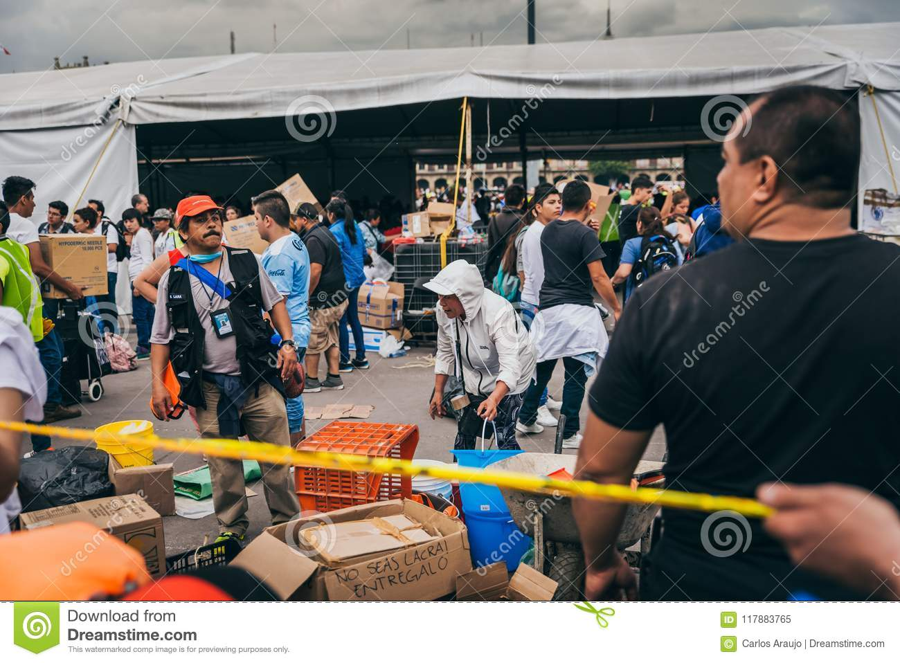 MEXICO - SEPTEMBER 20: People volunteering at a collection center to gather provisions and supplies for the earthquake victims