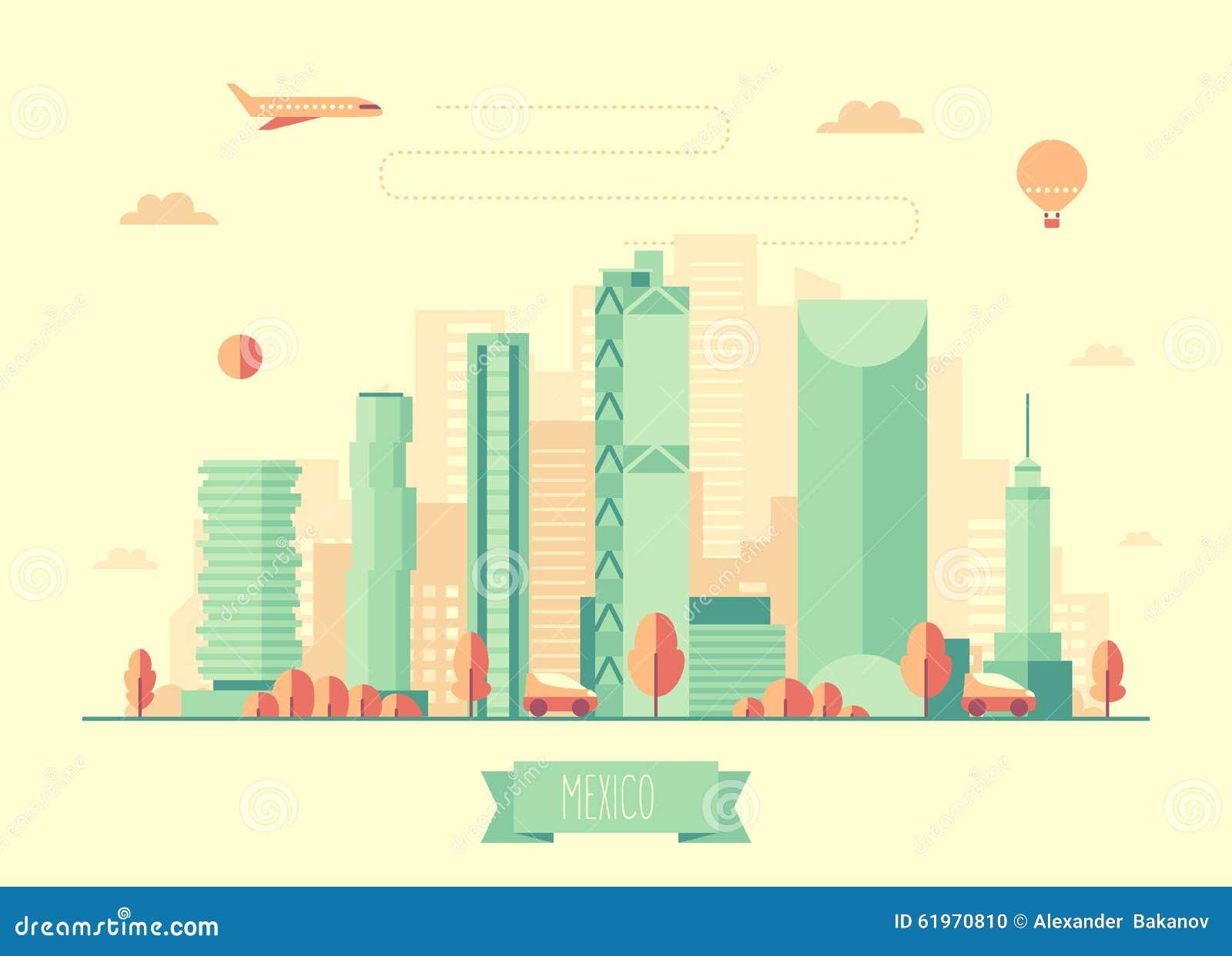 Mexico Skyline Vector Illustration Flat Design Stock