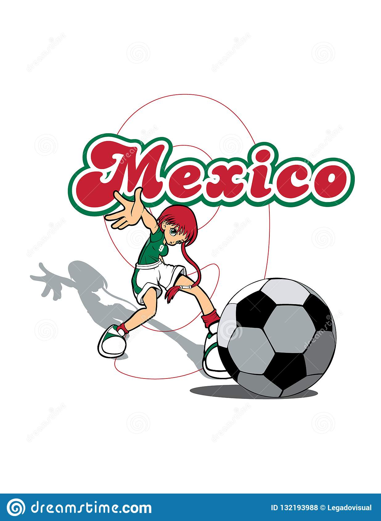 42a7686b2ea Mexico Soccer Player At Penalty Stock Vector - Illustration of ...