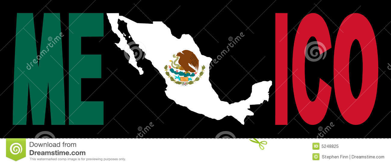 Mexico Text With Map On Flag Stock Vector Illustration Of Outline