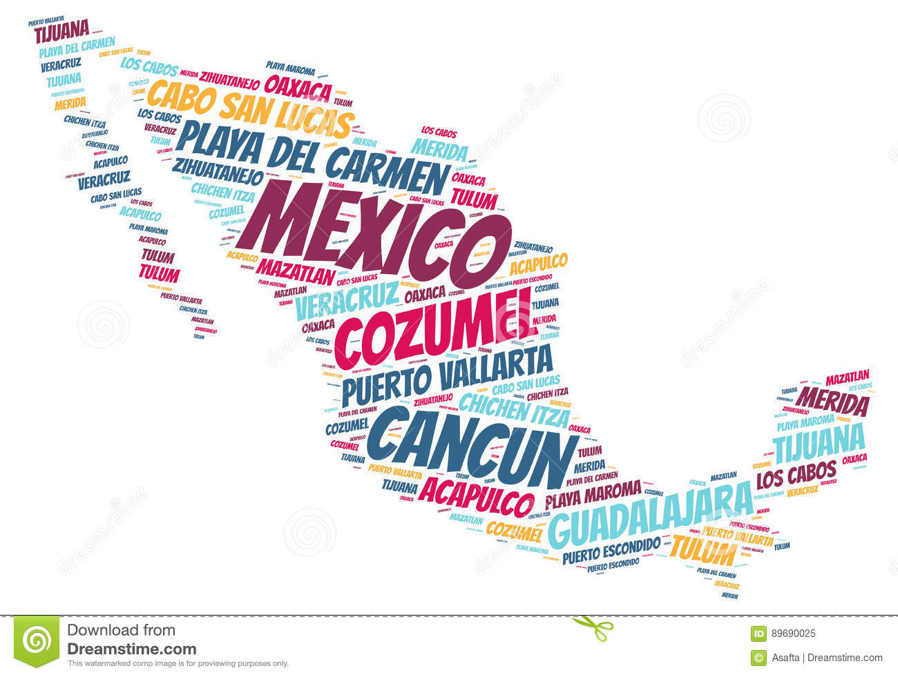 Mexico Top Travel Destinations Word Cloud Stock Illustration
