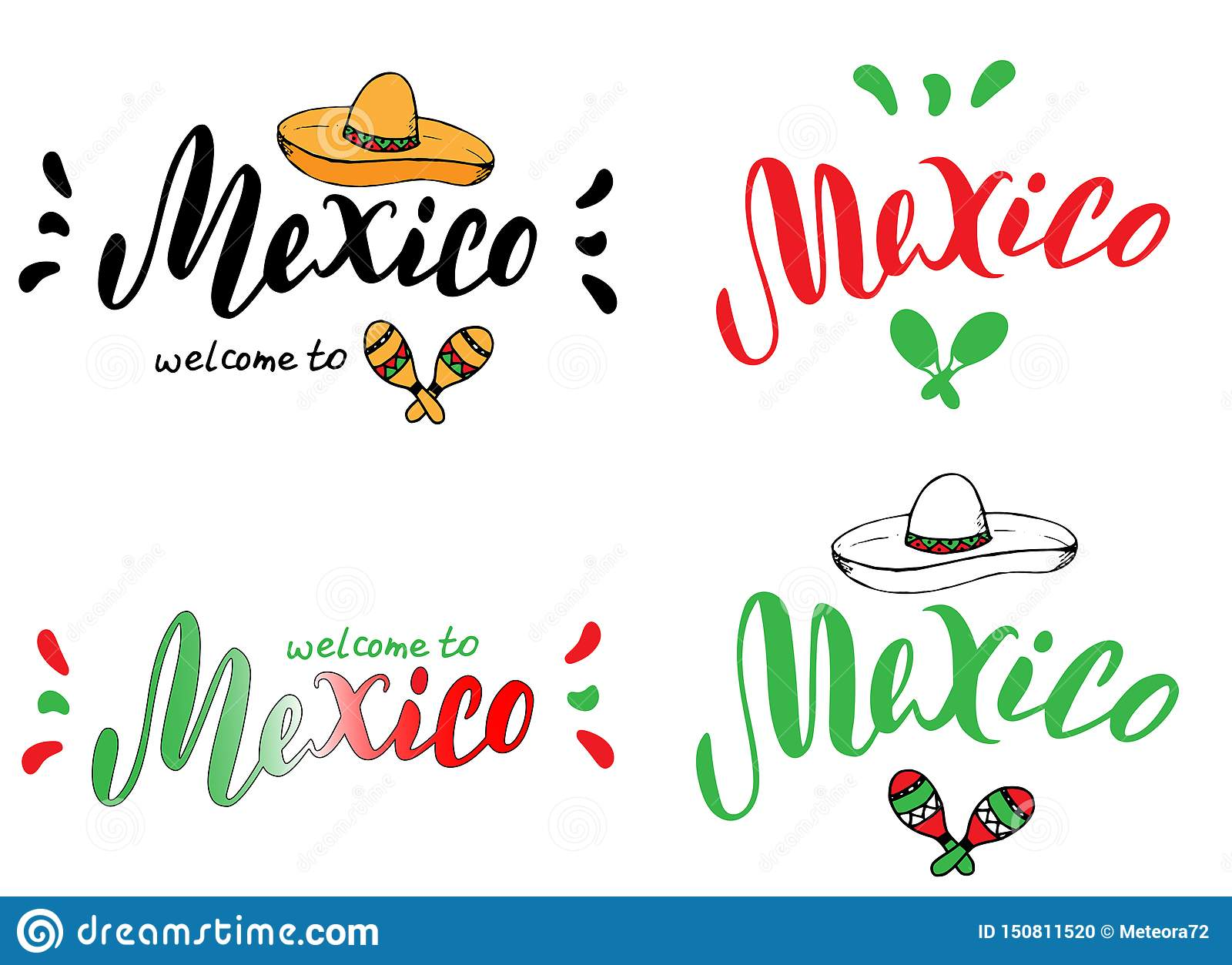 Mexico typography set design template. Tourism website or brochure banner. Print for t-shirt, sticker, magnet, postcard design.