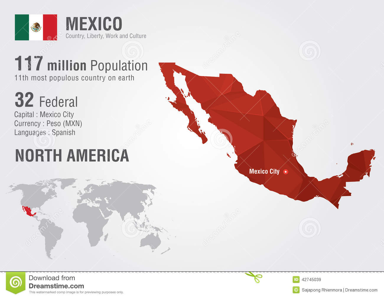 Mexico world map with a pixel diamond texture stock image image download comp gumiabroncs Image collections
