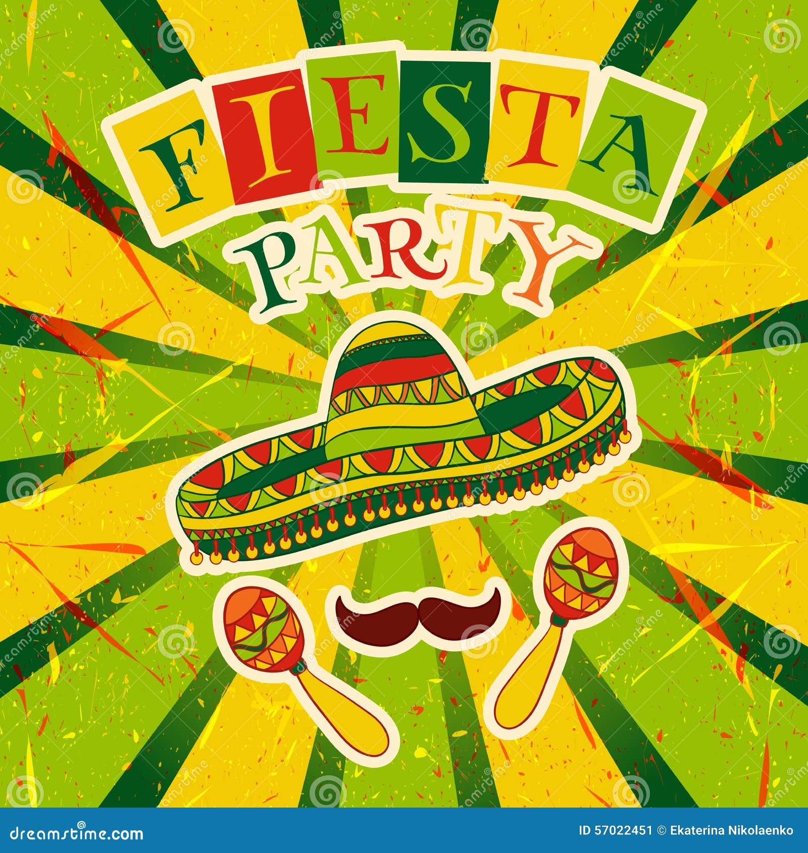 Mexikanische Fiesta-Partei-Einladung mit maracas, Sombrero und dem Schnurrbart Hand gezeichnetes Vektorillustrationsplakat