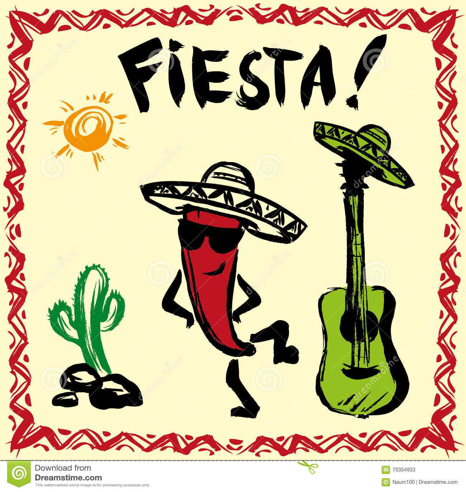 Mexikanische Fiesta-Partei-Einladung Mit Maracas, Sombrero Und Guita ...