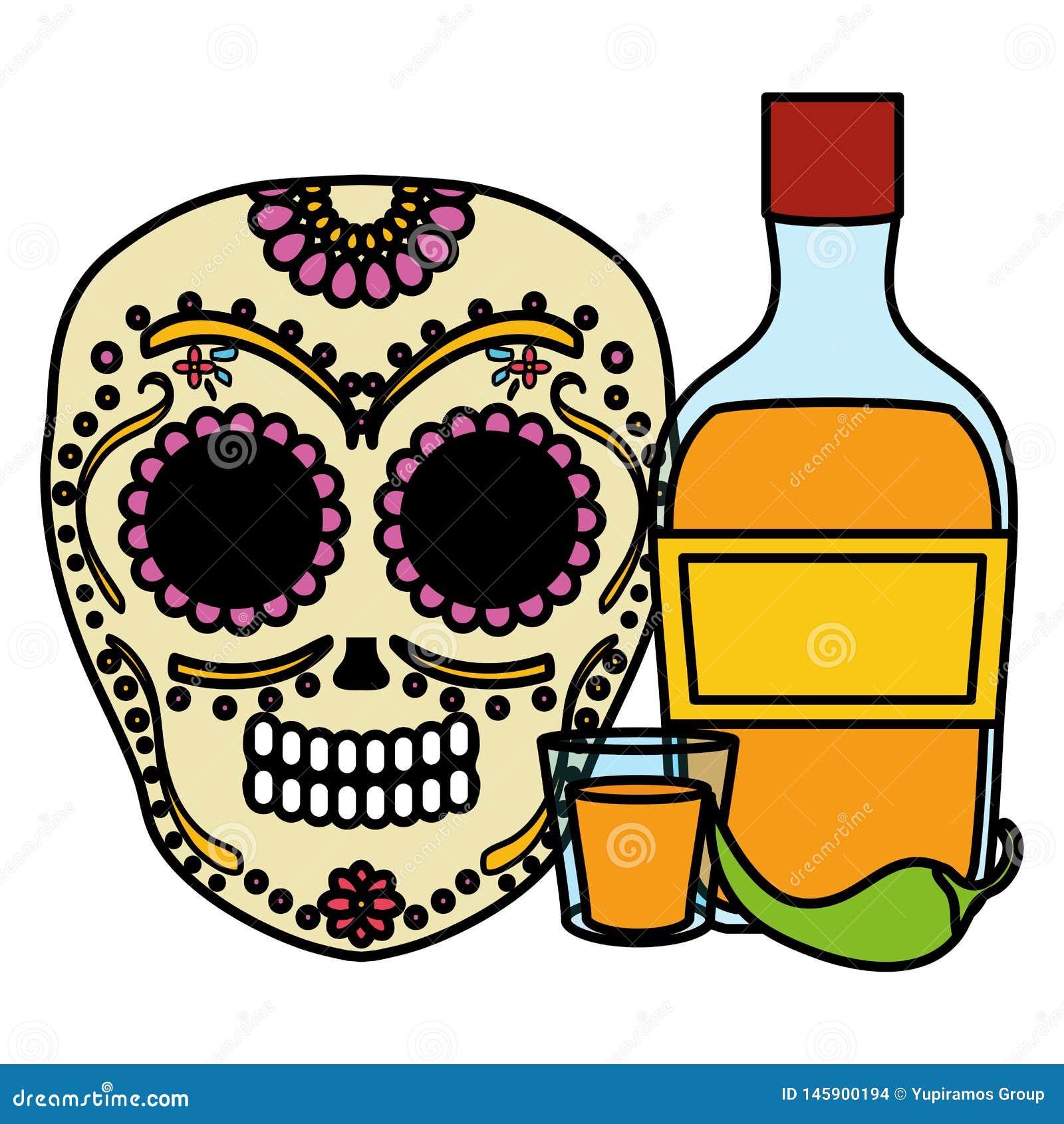 Mexikanische Sch?delTotenmaske mit Tequilaflasche