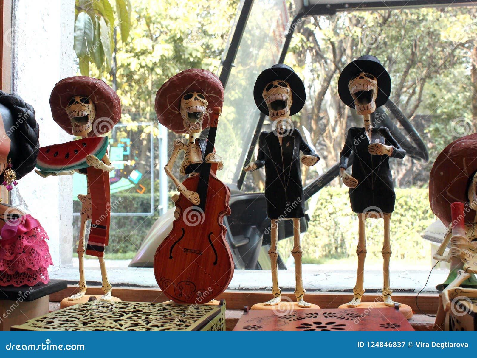 Mexikanische Zahl Skelettmusiker, Tag Dias de Los Muertos des Todes tot