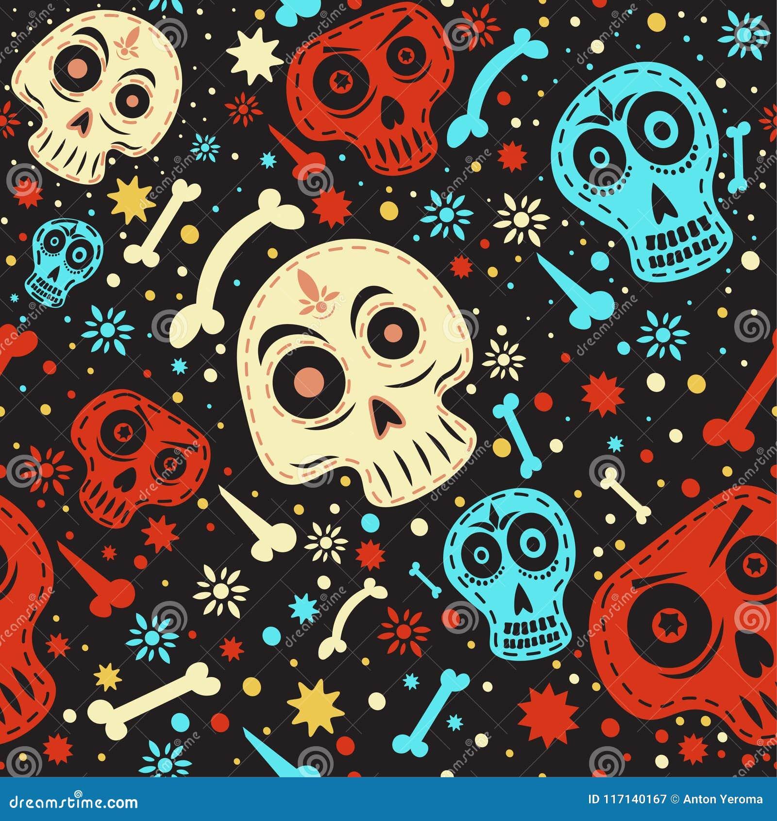 Mexikanisches Schädelmuster Tag vom toten bunten