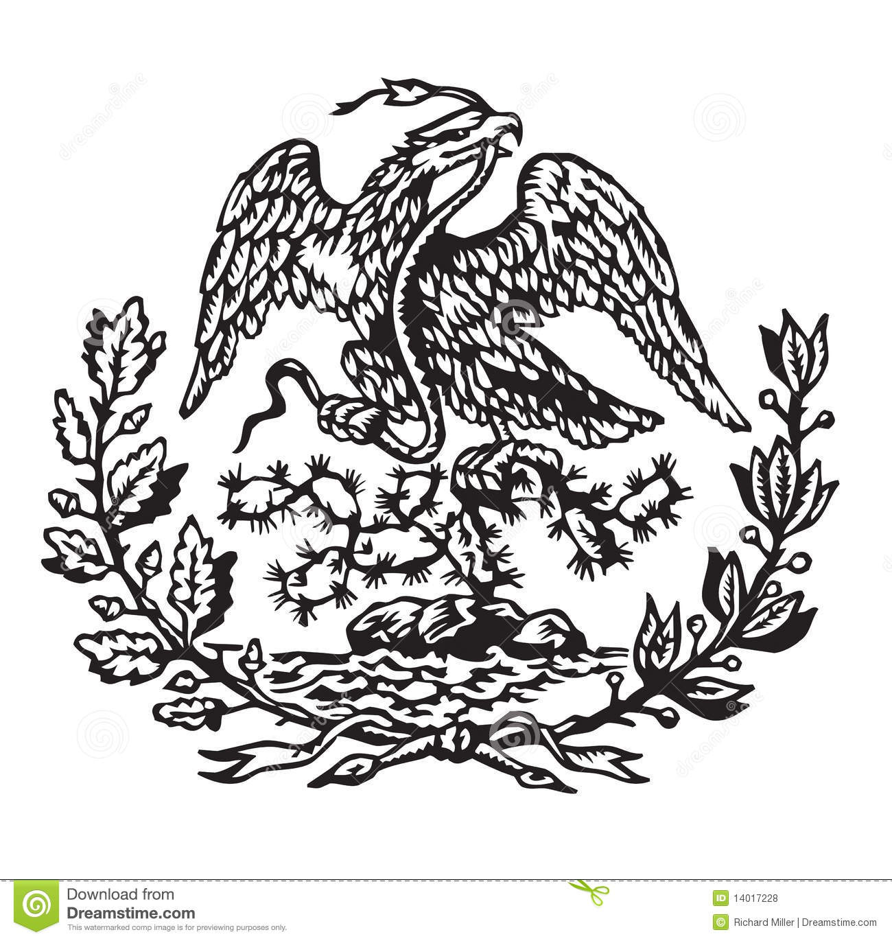 Mexican Flag Eagle Coloring Page
