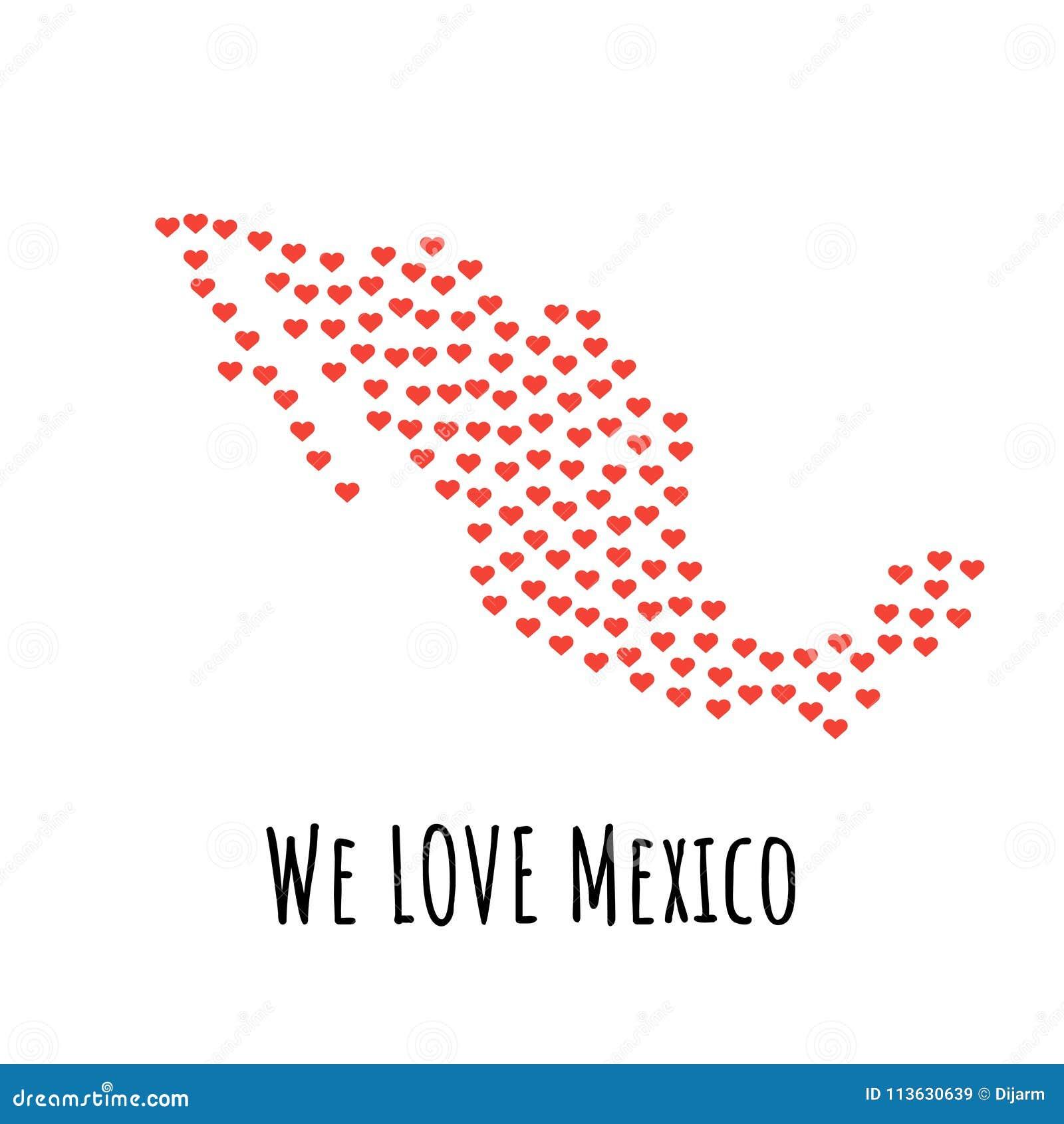 Mexiko-Karte mit roten Herzen - Symbol der Liebe entziehen Sie Hintergrund