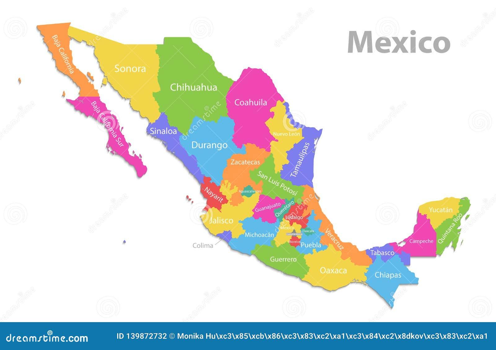 Mexiko Karte Neue Politische Ausfuhrliche Karte Unterschiedliche