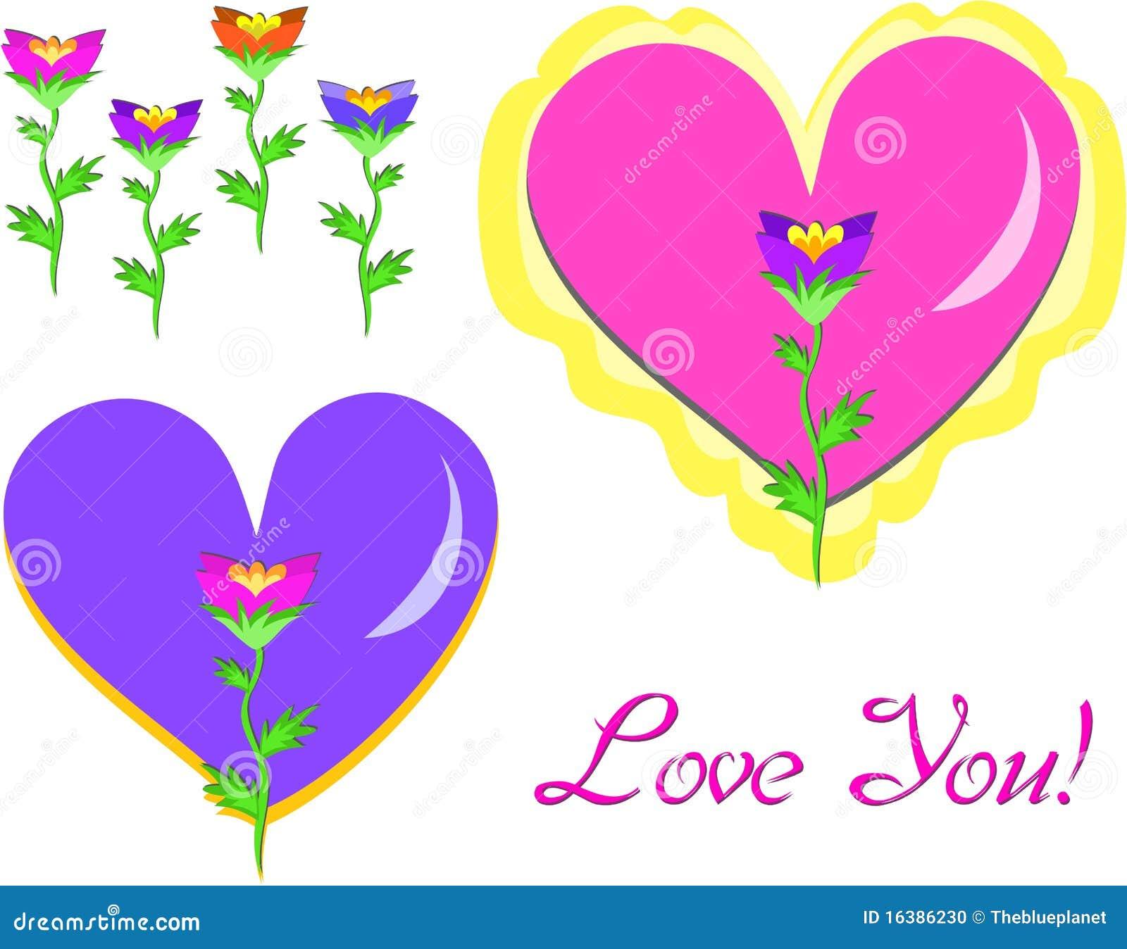 Mezcla De Corazones De Flores Y De Amor Ilustracion Del Vector