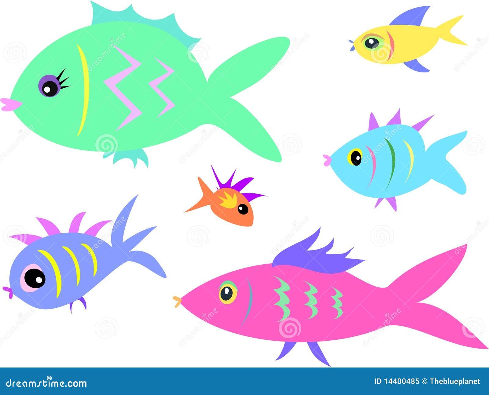 Mezcla De Pescados De Una Variedad De Colores Y De Dimensiones De ...